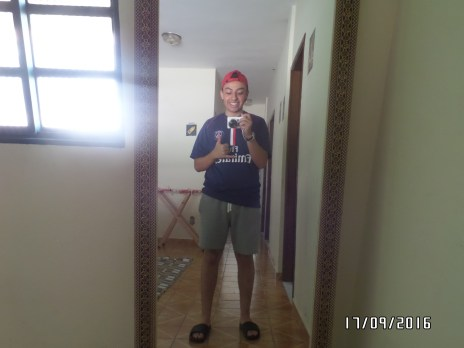 a mirror selfie cause why not (so I found that hat in the house and it was dirty and ripped and I washed it and sewed it myself so I´m pretty proud).