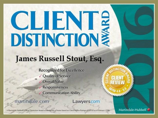 Client Distinction Award 2016