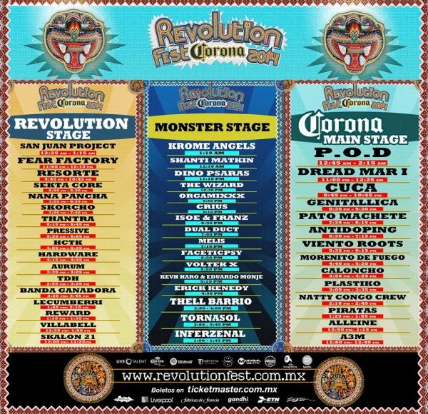 Horarios Revolution Fest 2014