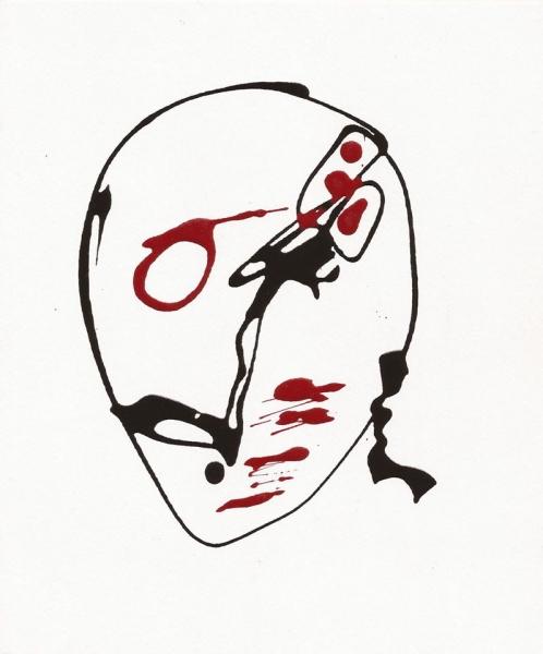 """""""El rostro de cualquiera"""". Esmalte y Novart. 23 x 20 cm, Emilio Valencia."""
