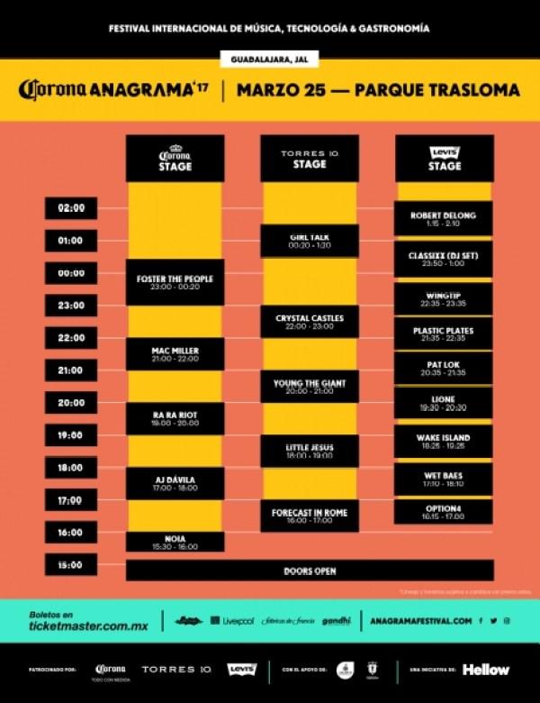 Horarios Festival Anagrama