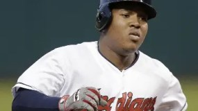 Cleveland Indians' Jose Ramirez runs the bases after hitting a solo home run off Tampa Bay Rays starting pitcher Chris Archer in the first inning of a baseball game, Friday, Sept. 26, 2014, in Cleveland. (AP Photo/Tony Dejak)