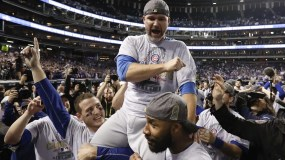 Chicago Cubs celebrates after Game 7 of the Major League Baseball World Series against the Cleveland Indians Thursday, Nov. 3, 2016, in Cleveland. The Cubs won 8-7 in 10 innings to win the series 4-3.(AP Photo/Matt Slocum)