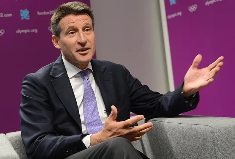Chairman of the London Olympic Organizing Committee (LOCOG), Sebastian Coe, gestures during an interview with AFP in London on July 24, 2012 just days ahead of the opening ceremony of the London 2012 Olympic Games.  AFP PHOTO / ADEK BERRY