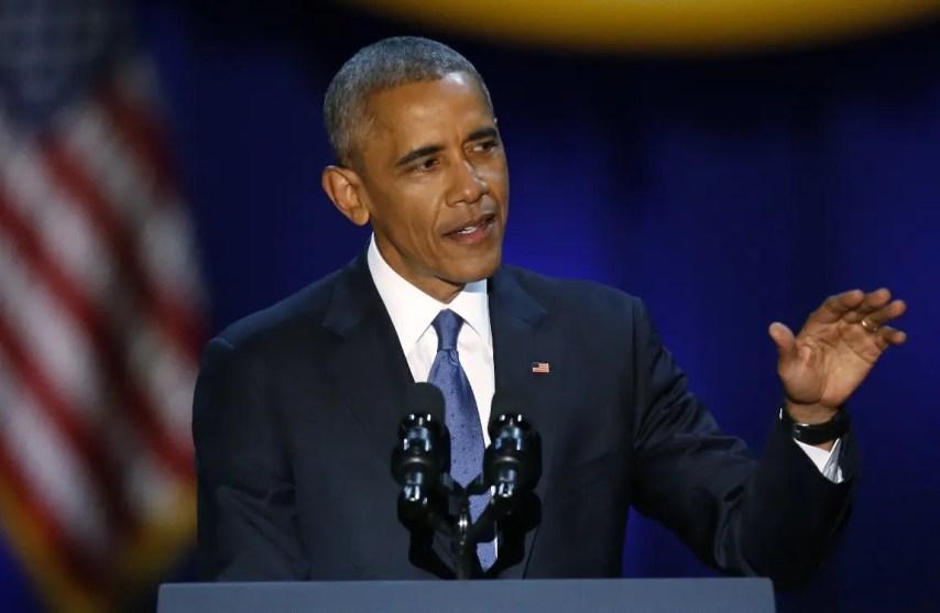 El presidente Barack Obama habla en el McCormick Place en Chicago, el martes 10 de enero de 2017, en su mensaje de despedida presidencial . (AP Foto/Charles Rex Arbogast)