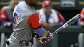 Dominican Republic's Starling Marte (6) lines a two-run double off Pittsburgh Pirates pitcher Tyler Glasnow during the sixth inning of an exhibition baseball game Wednesday, March 8, 2017, in Bradenton, Fla. Manny Machado and Jose Bautista both scored on the hit. (AP Photo/Chris O'Meara)