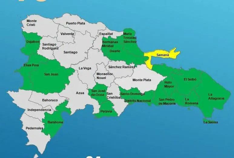 COE mantiene 9 provincias en alerta verde