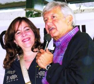 Andrés Manuel López Obrador y  Yeidckol Polevnsky.