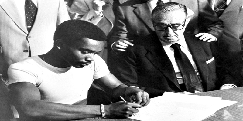 Laurie Cunningham, the 23-year-old West Bromwich Albion and England footballer, in his new team strip after signing for the Spanish club Real Madrid in a £950,000 deal, making the Jamacian-born striker British football's costliest export.