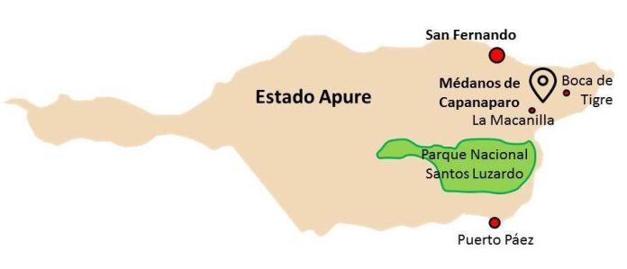 Ubicación de los Médanos de Capanaparo