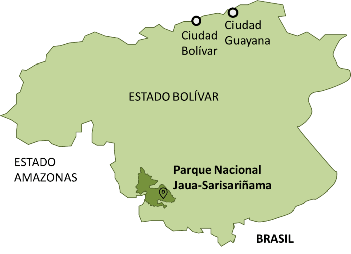 Croquis de Ubicación del Parque Nacional Jaua-Sarisariñama