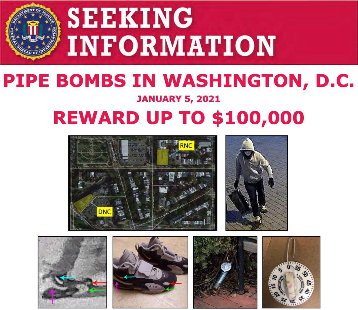 FBI divulga video de sospechoso de colocar bombas caseras en comités políticos previo a asalto al Capitolio en Washington DC