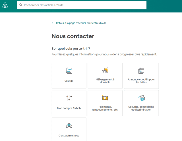 contacter airbnb interface resolution problemes