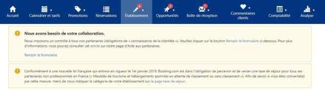 Aspect visuel de l'interface de l'extranet de Booking.com