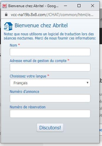 chat contacter Abritel