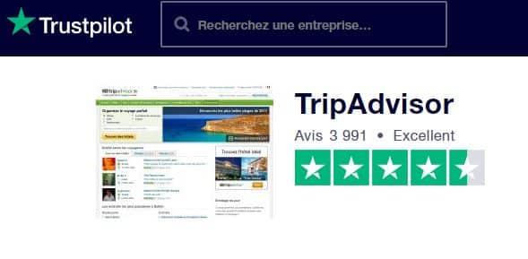 """Trust Pilot recense des avis """"certifiés"""", et TripAdvisor est une des rares plateformes de réservation en ligne à être dans le vert"""