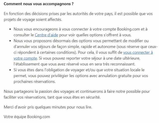 Booking.com coronavirus annulation réservation