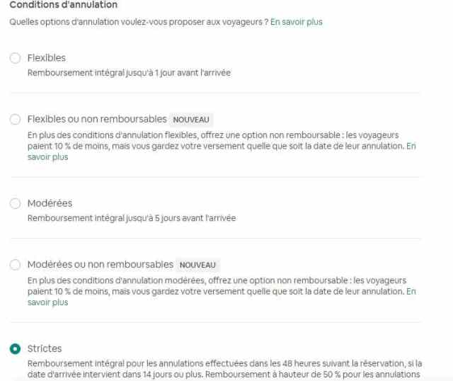 Condition Annulation Airbnb