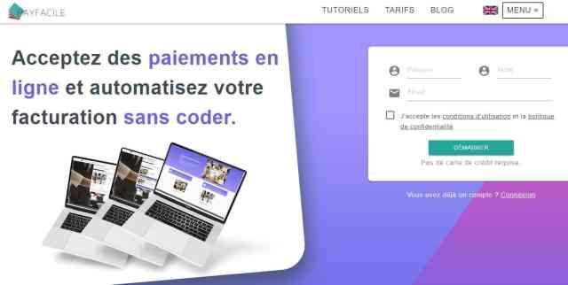 Interface de Payfacile pour gérer les paiements et facturations de sommes fixes