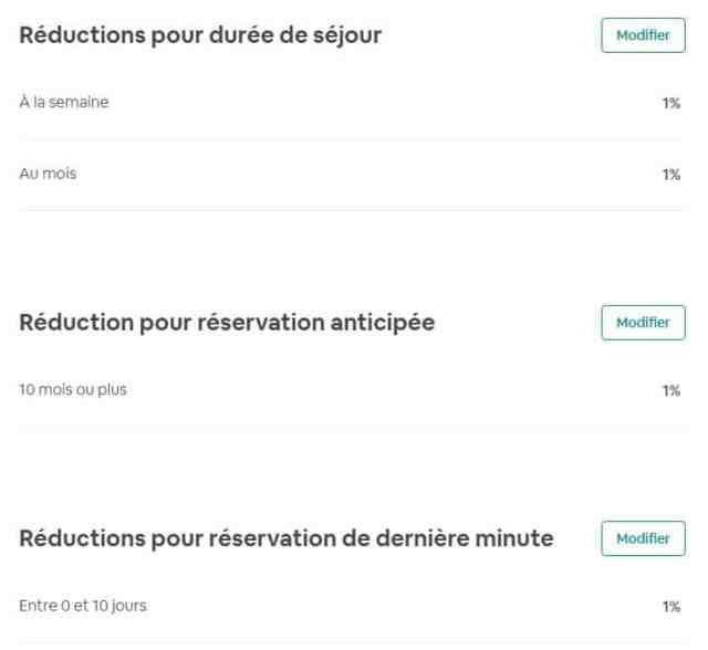 Dans l'Onglet Tarifs puis Réduction dans mon compte Airbnb