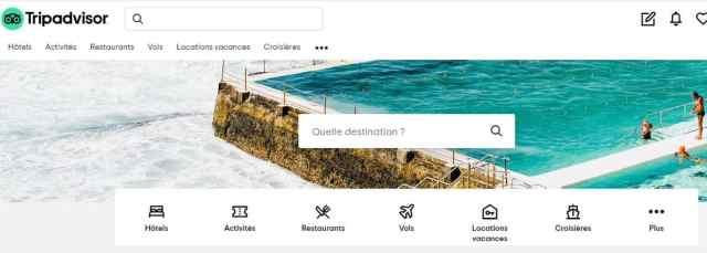 Malgré la mise en avant des locations de vacances dans son menu de navigation, TripAdvisor n'as pas réussi à s'imposer