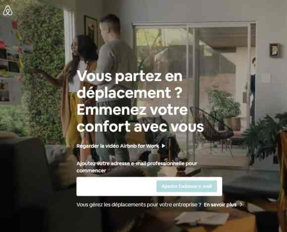 Visuel de l'interface Airbnb For Work (voyages d'affaires)