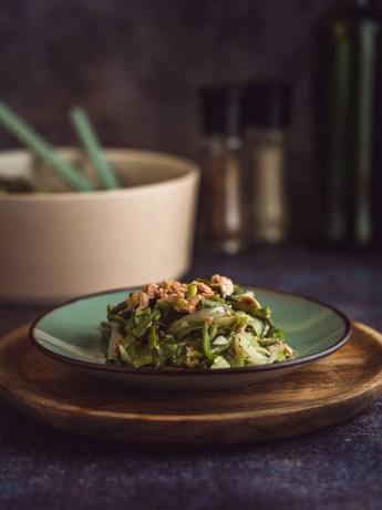 salade de fenouil, haricot vert, thon et oignon nouveaux