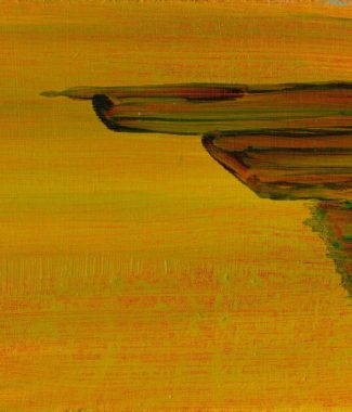 Pier, Yellow Abstract OIl on Panel 13 x 18 cm approx Oil on panel © 2012-15 Eleanore Ditchburn