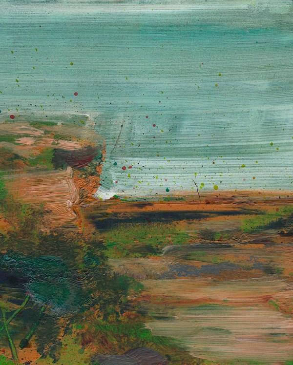 © 2015 Eleanore Ditchburn, Headland #2, Acrylic on Gessobord 10 x 10 cm