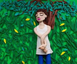 Original photograph: Nancy, Danville, Virginia, 1969 by Emmet Gowin rendered in Play-Doh, 2015 © Eleanor Macnair