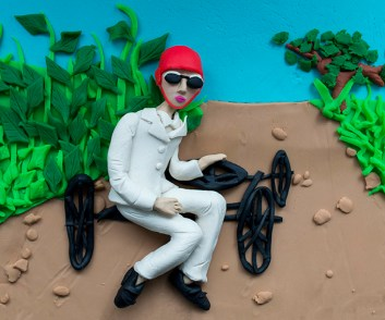 Original photograph: Zissou's bobsled with wheels, after the bend by the gate, Rouzat, August 1908 by J H Lartigue rendered in Play-Doh, 2015 © Eleanor Macnair