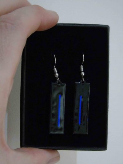 black with a blue stripe rectangular enamelled earrings