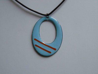 Blue enamelled necklace with orange stripes