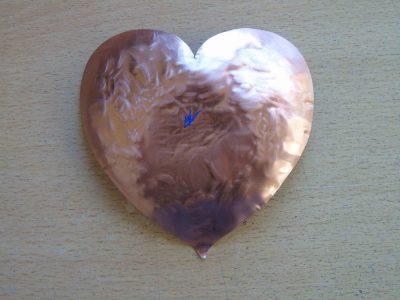 Back of heart shaped bowl