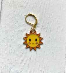 Happy Sun knitting crochet stitch marker or progress keeper