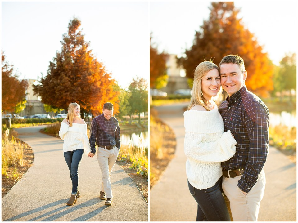 Railroad Park Engagement walking hand in hand