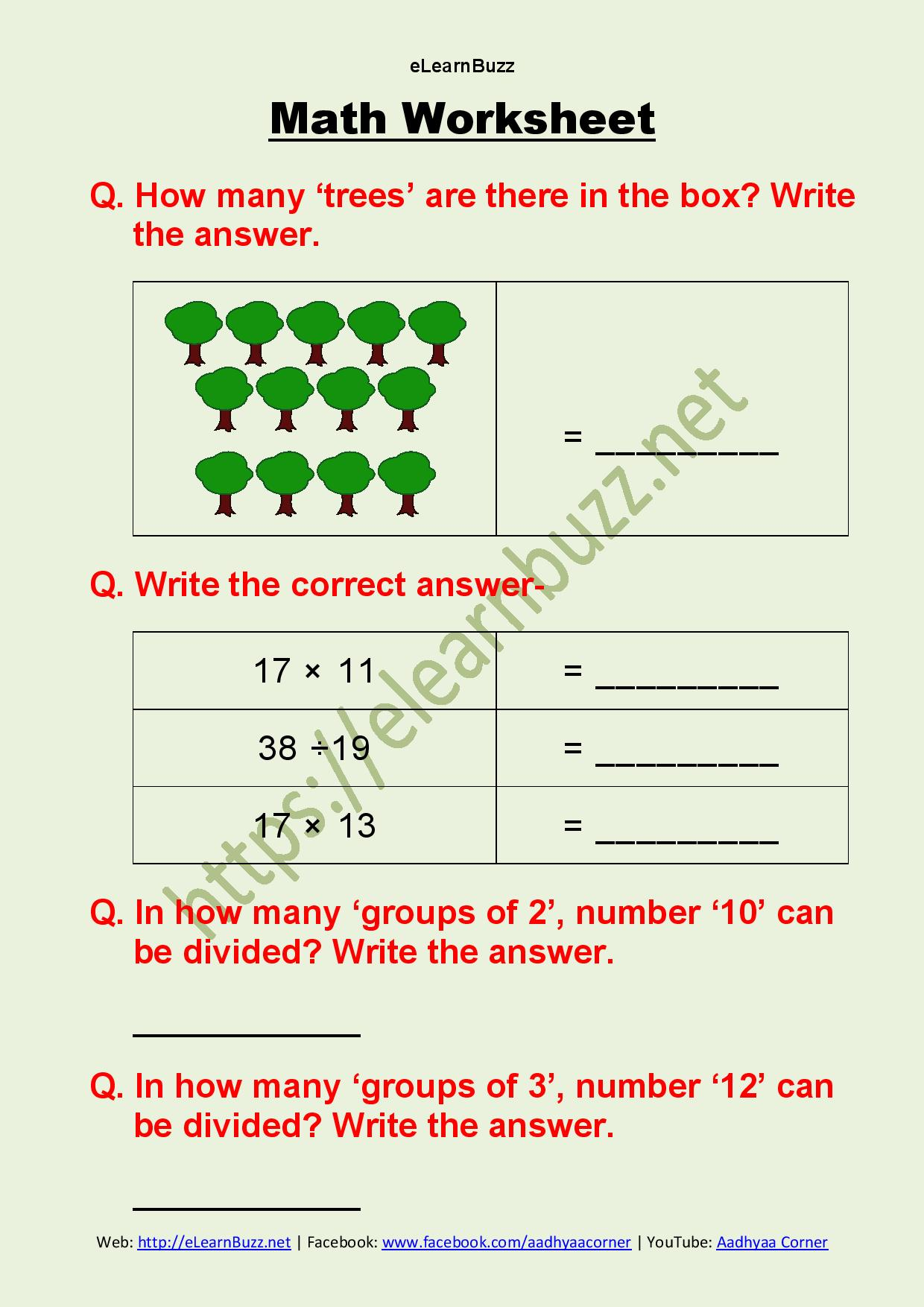 Math Worksheet For Class 2