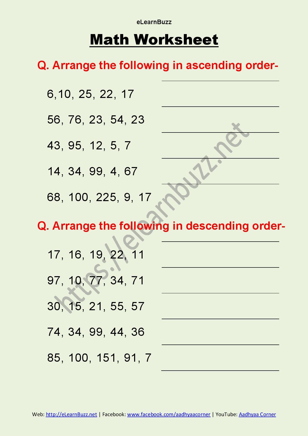 Math Worksheet For Class 2