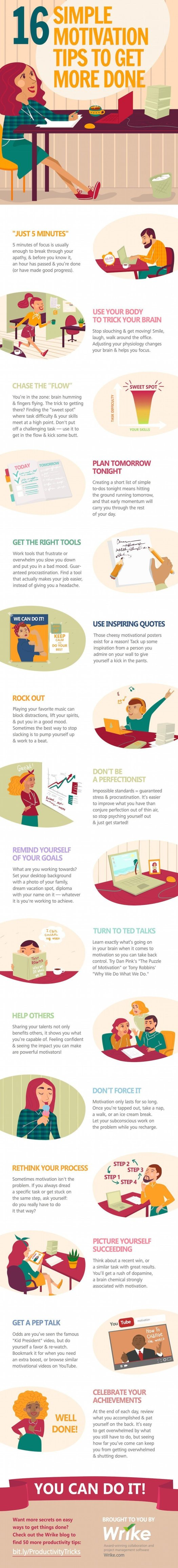 16 Simple Motivation Tips to Get More Done Infographic