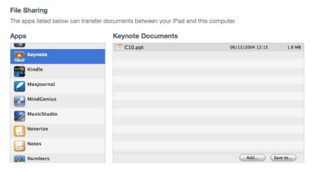 Importing from iTunes into Keynote for the iPad