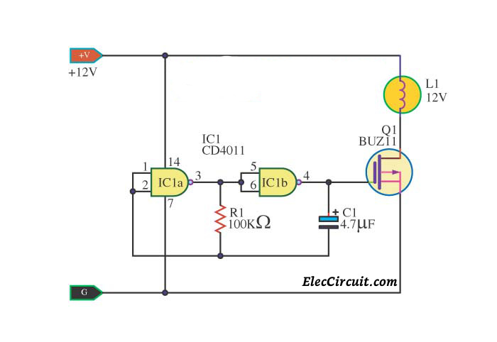 Simple IC 4011 LED Flasher Circuit -ElecCircuit.com