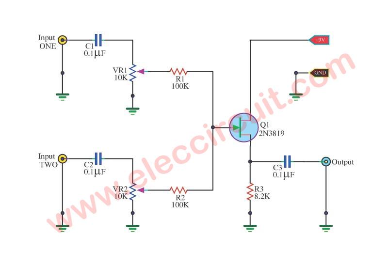 3 Simple Audio Mixer Circuits Diagram