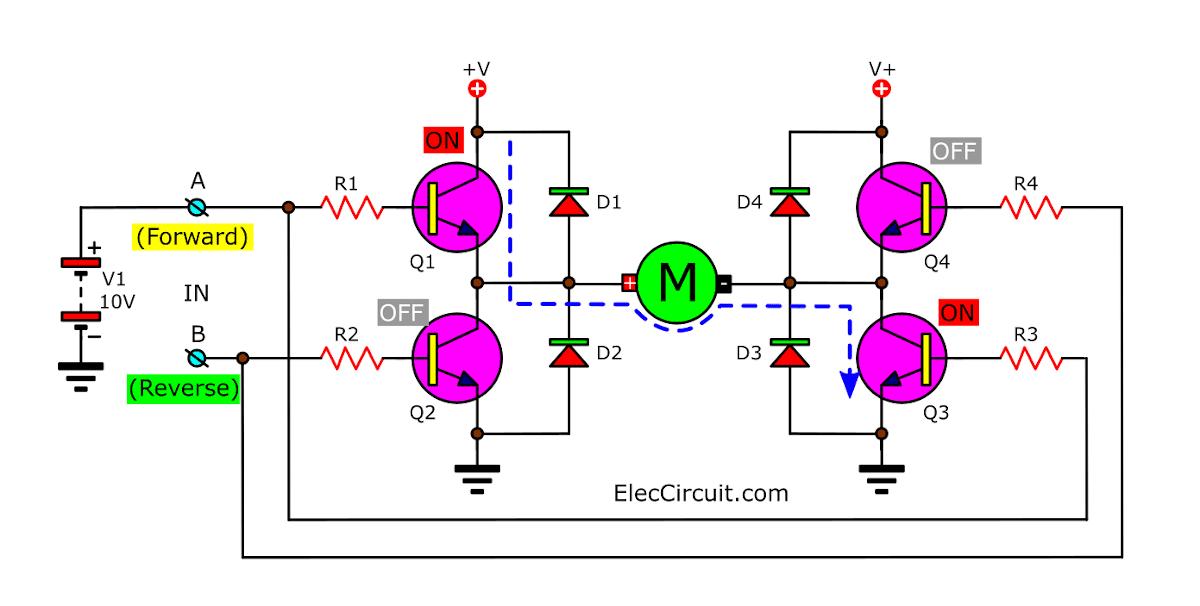Basic H-bridge Motor Driver Circuit Using Bipolar Transistor
