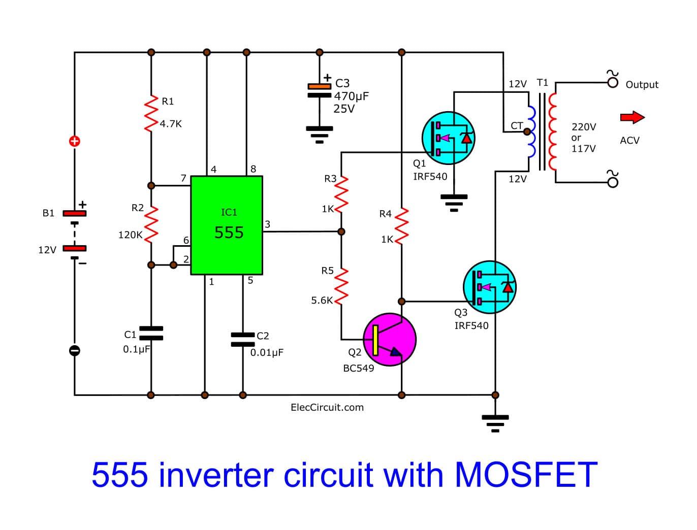 IC 555 Inverter Circuit Using Mosfet