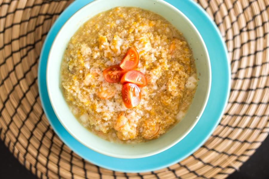 Quinoto (Risoto de Quinoa) de Camarão e Abóbora