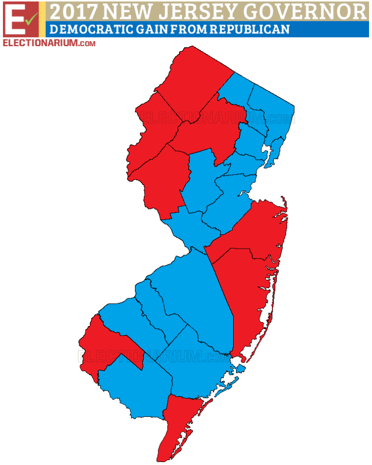 New Jersey Governor Election 2017 election results map
