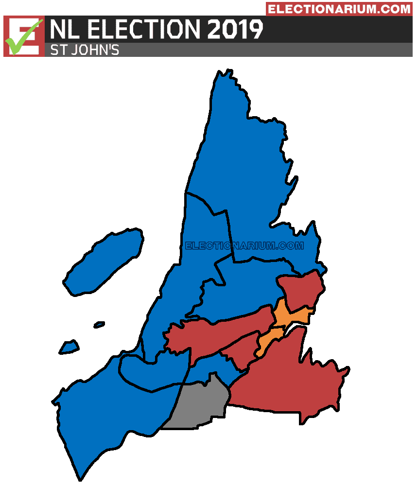 2019 Newfoundland and Labrador Election Results -St Johns Map