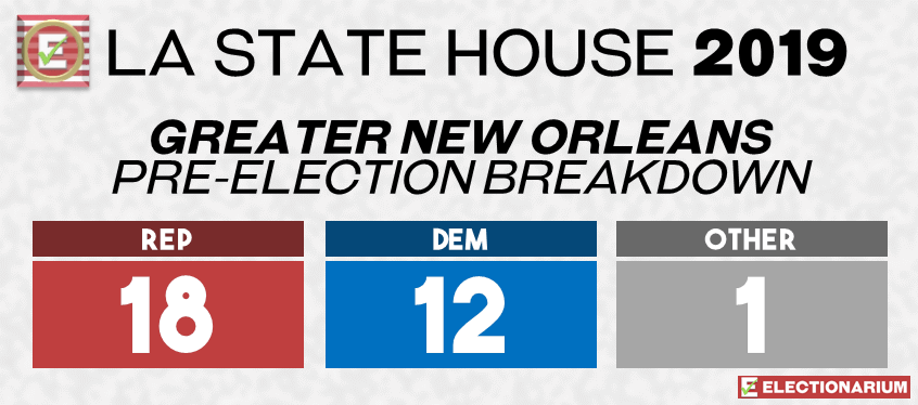 2019 Louisiana State Legislature Elections - House Pre-Elex Greater New Orleans