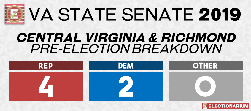 2019 Virginia State Legislature Elections - Senate Pre-Elex Central Virginia-Richmond