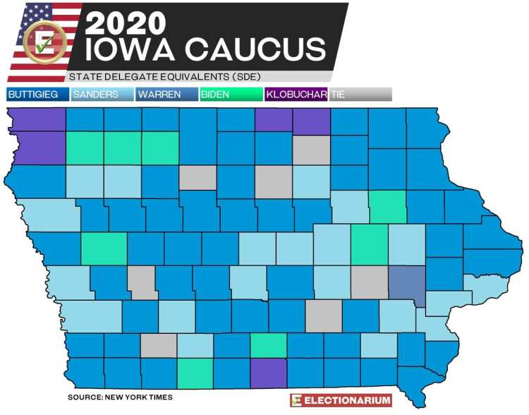 2020 Iowa Caucus results - Dem map